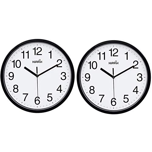 Yoobure 2 Pack Silent Wall Clock,10 Inch Quartz Decorative Wall Clock Non-Ticking Classic Digital Clock Battery Operated Round Easy to Read Home/Office/School Clock (Black)