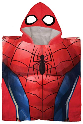 Marvel Avengers Spiderman Kids Bath/Pool/Beach Hooded Poncho - Super Soft & Absorbent Cotton Towel, Measures 22 x 22 Inch (Official Marvel Product)