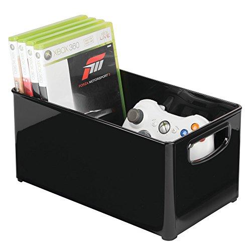 mDesign Caisse de Rangement ? Rangement CD, Jeux vidéo avec poignée ? Rangement DVD en Plastique ? Noir