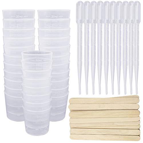 SelfTek Kunststoff-Messbecher mit Werkzeug - 50 Stück 30 ml-Messbecher, 50 Stück Rührstäbchen, 50 Stück 3ml-Pipette zum Mischen von Harz, Stain, Epoxy und Farbe