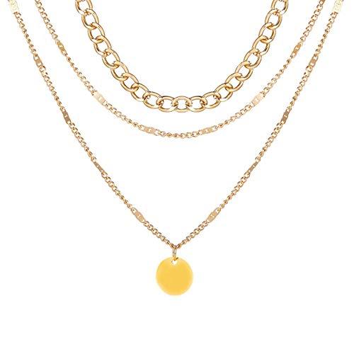 HJURTB Collier Vintage sur Le Cou chaîne en Or Bijoux pour Femmes Accessoires en Couches pour Filles vêtements Cadeaux esthétiques Pendentif de Mode 2021