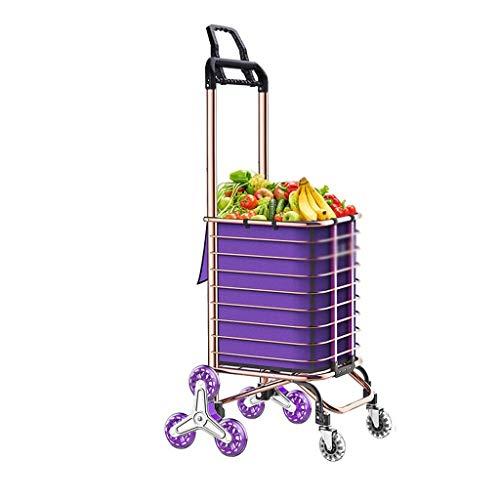LLSS Einkaufswagen Lebensmitteleinkaufswagen Zusammenklappen Tragbarer Einkaufswagen Startseite Ziehende Waren Klettertreppe Anhänger Tragbare Gebrauchswagen