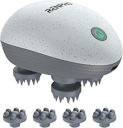 RENPHO Masajeador Cuero Cabelludo, Masajeador de cabeza portátil y resistente al agua con 4 cabezales de masaje para aliviar el estrés, limpieza en profundidad y masaje corporal, regalos para mama