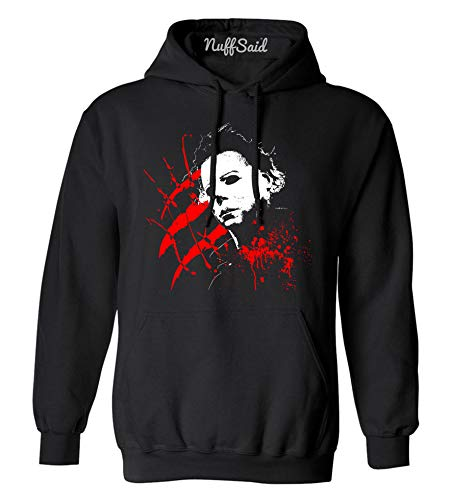 Adults Halloween Hoodie, Michael Myers Slasher Graphic, Gray or Black, S to XXL