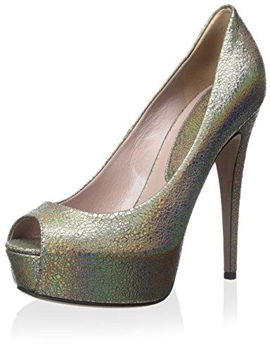 Gucci Damen Peep Toe Pumpe, (beige), 38.5 EU