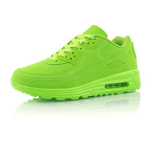 Fusskleidung® Damen Herren Sportschuhe Dämpfung Sneaker leichte Laufschuhe Neon Grün EU 43