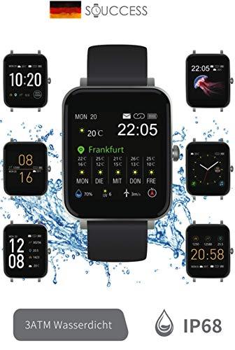 """SOUCCESS FITNESSUHR MIT Full Touch Display, SMARTWATCH Always ON Display, FITNESSTRACKER, PULSMESSER, SCHRITTZÄHLER FÜR Frauen UND MÄNNER, GROSSES 1.54"""" Display, IOS/Android, 3ATM WASSERDICHT, IP68"""