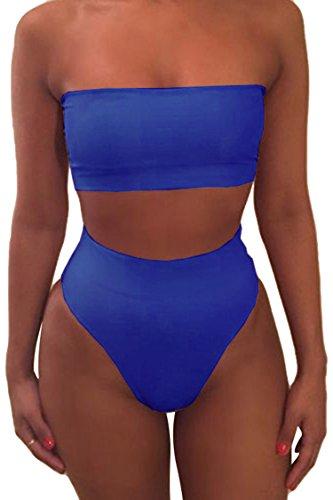 Pink Queen Women's Remove Strap Pad Bikini Set Swimsuit Sky Blue M