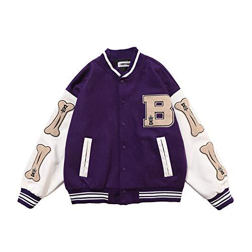 HZQIFEI Herren Jacken College Baseball Sportjacke Sweatjacke Unisex Patchwork Mode Streetwear (Violett, M)