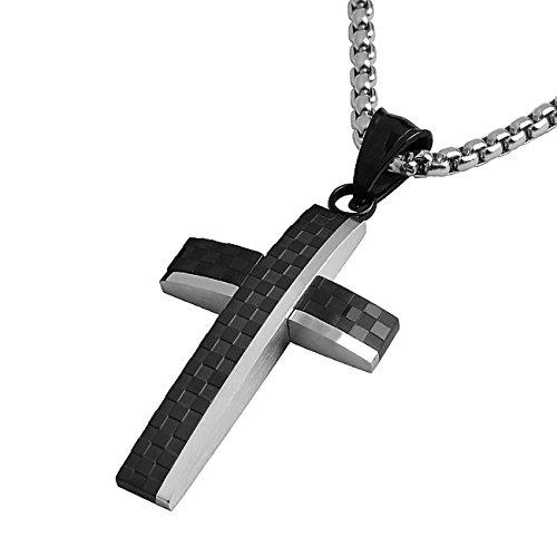 DonDon Collana Uomo con Ciondolo a Croce Lucido-Opaco a Scacchi in Acciaio Inox 52 cm Argento e Sacchetto in Velluto