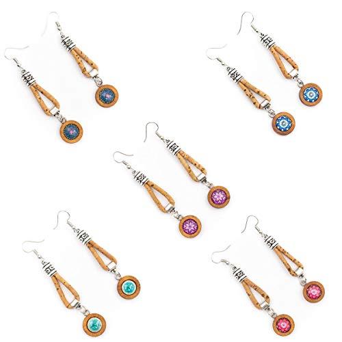 Natural cork with round wood pendant women earrings Original handmade ladies earrings-ER-105-MIX-5 - 5units