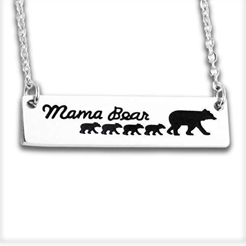 Hopyee Mama Bear Jewelry 4 Cubs Bear Bar Necklace Momma Bear Necklaces for Women Mama Bear Cub Necklace Mama Bears Necklace