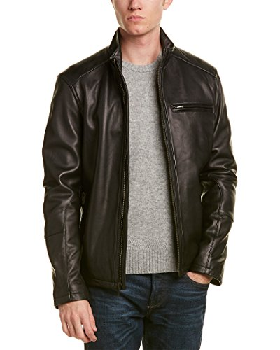 Cole Haan Men's Smooth Lamb Leather Moto Jacket, Black, Small