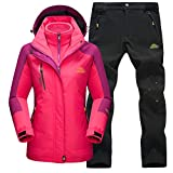 GladiolusA Chaqueta Impermeable 3 En 1 para Hombre Mujer Trekking Deportivos Transpirable Pantalones Chaqueta Impermeable Excursionismo Conjunto Rose+Negro Mujer M