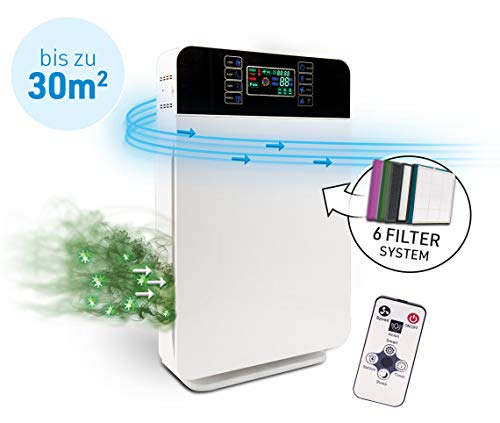 Livington AirPurifier | Luftreiniger bis zu 30m2 | 6-Filter-System | zuschaltbar: UV- und IONEN-Filter | Automatik-Funktion | 3 Stufen | Timer | entfernt 99% aller Partikel | Das Original aus dem TV
