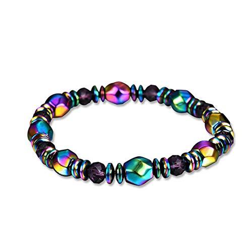 Aiasiry Pulsera de hematita Pulsera de Brazalete de Piedras Preciosas de Arco Iris magnético elástico para Hombres y Mujeres (Multicolor)