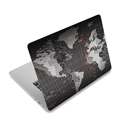 """Laptop Skin Sticker Decal,12"""" 13"""" 13.3"""" 14"""" 15"""" 15.4"""" 15.6 inch Laptop Vinyl Skin Sticker Cover Art Protector Notebook PC (Free 2 Wrist Pad Included), Decorative Waterproof Removable,Cool World Map"""