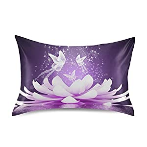 KEEPREAL Beautiful Lotus Flower Satin Pillowcase for Hair and Skin Silk Pillowcase – Slip Cooling Satin Pillow Covers with Envelope Closure, Standard Size(20×26 inches)