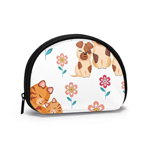 Bolsa de Cambio para niños Gato y Perro Monedero con Cara Divertida Monedero de Viaje Bolsa con Cremallera Mini Bolsas de Maquillaje cosmético para Mujeres Niñas Regalos y Decoraciones para