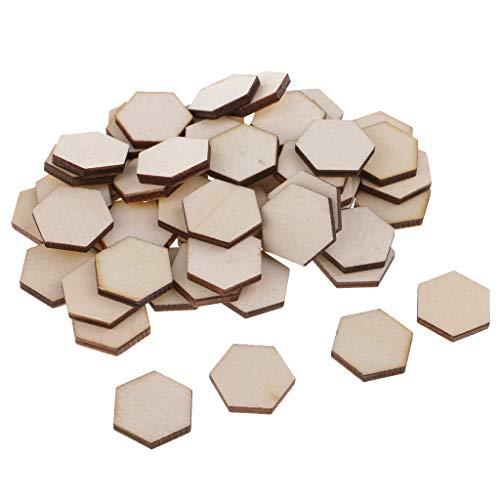 kowaku 54x Hexágono Forma Madera Madera Geométrica Artesanía DIY Libro de Recuerdos en Blanco