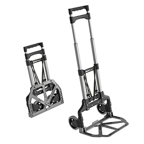 ATHLON TOOLS Carretilla plegable de aluminio | zona de carga con almohadillas antideslizantes | ruedas con bandas de rodadura suaves | incl. 2 cuerdas extensibles
