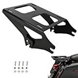 AUFER Black Two Up Mounting Luggage Rack Compatible For Touring Road King Street Glide Road Glide Tour Pak Pack 2014-2020