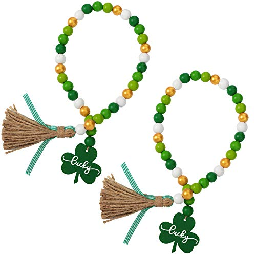 2 Pieces St. Patrick's Day Wood Bead Garlands with Tassels Farmhouse Rustic Country Wood Bead Garland with Wooden Shamrock Sign Ornament Wall Hanging Decor Prayer Boho Beads Natural Garland Decor