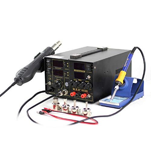 3-en-1 Estación de soldadura 853D 5A Hierro desoldador digital Estación de retrabajo SMD Estación de soldadura de aire caliente