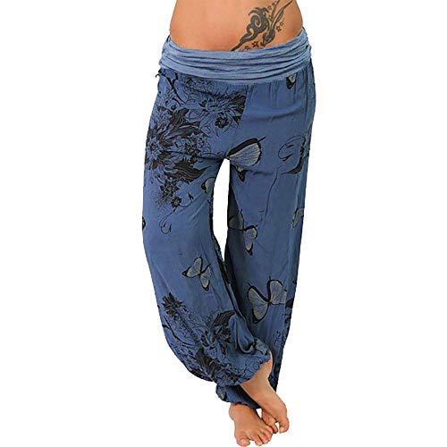 Xmiral Hosen Damen Schmetterlingsdruck Weitem Bein Haremshose Yogahosen mit Loser Tasche Große Größe Elastische Taille Jogginghose (Marine,XL)