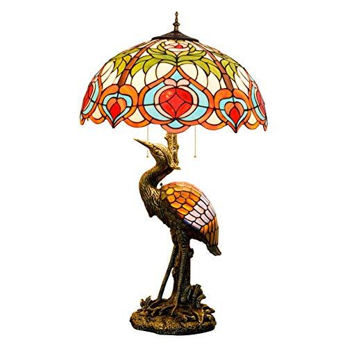 Lámpara de mesa decorativa estilo retro Shade 20 pulgadas estilo de Tiffany Hombre gran lámpara de cristal de la lámpara melocotón for estar Sala de Estudio dormitorio lámpara de mesa