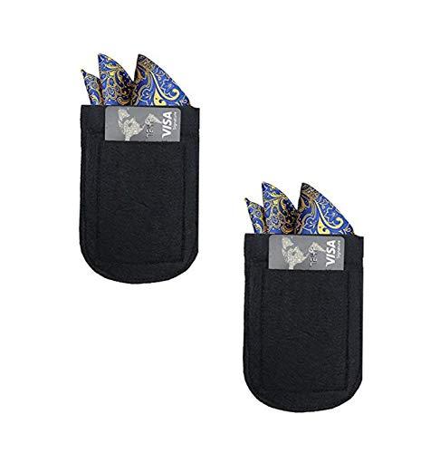CAREOR 2 Pack para hombre con bolsillo y portatarjetas, microfibra negra con cierre elástico Chaquetas Pañuelo bolsillo cuadrado titular