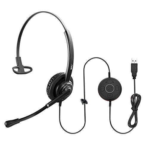 MKJ USB Headset with Microphone for PC Computer Headphones Noise Cancelling for Zoom Meetings Skype Headset for Laptops UC Headphones with Dictation Mic for Microsoft Teams Softphones Rosetta Stone