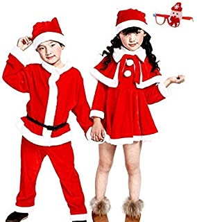 Nemory (ネモリ)サンタ 衣装 子供 コスプレ コスチューム キッズ 子供服 サンタクロース 帽子付き 女の子 男の子 (Santa children-nv140cm)