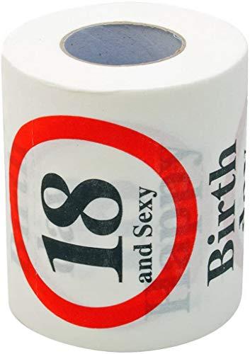 KMC Austria Design Geburtstag Toilettenpapier mit Aufdruck Verkehrszeichen Happy Birthday 18 and Sexy - Klopapier WC-Papier