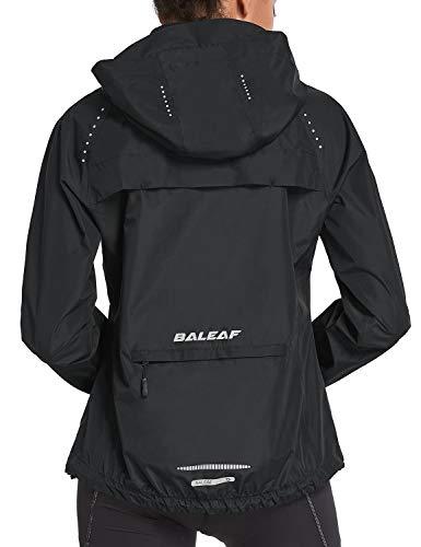BALEAF Women's Cycling Jackets Hooded Running Biking Raincoat Windbreaker Waterproof Windproof Packable Lightweight Black Size M