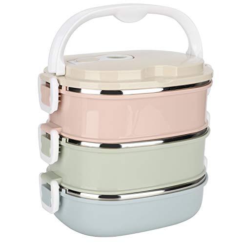 Fiambrera térmica, Fiambrera bento a prueba de fugas de 3 niveles Fiambrera apilable de acero inoxidable Fiambrera de comida caliente para adultos/hombres/mujeres, sin BPA(3 capas)