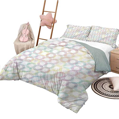 Quilt Bedding Set Full Size Abstract Bedding Bag Grunge Colored Circles