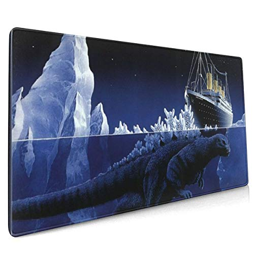 Godzilla Reason The Titanic Sank Extended Gaming Mouse Mat, DIY Custom Professional Mouse Pad (35.5x15.8In),Desk Pad Keyboard Pad Mat, Water-Resistant, Non-Slip Base, For Work & Gaming, Office & Home