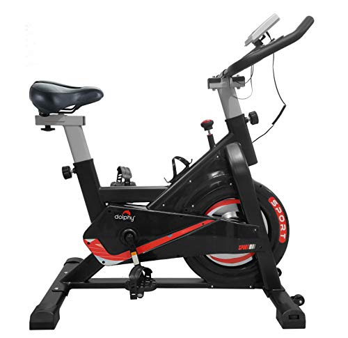 DOLPHY DGBCL0003 ABS-Sprayed Steel Exercise Spinning Cycling Bike, Red & Black