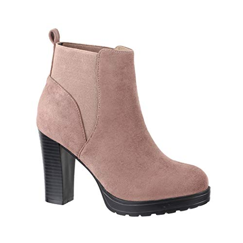 Elara Damen Stiefelette Ankle Boots Chunkyrayan BK3236 Pink-39