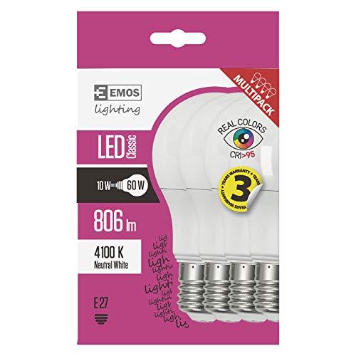 EMOS LED Lampen mit hoher Farbwiedergabe CRI 95+ / 4er Pack / A60 / A+ / 10 W/ersetzt 60 W Glühbirne / E27 Sockel / 806 Lumen/Neutralweiß / 30000 Stunden Lebensdauer, 4