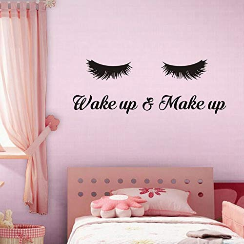Wake Up &Make Up Wall Decal Fashion Eyelash Wall Sticker Women Beauty Quote Sticker for Bedroom Decoration
