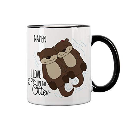 Herz & Heim® Personalisierte Tasse mit Namen - I love you like no Otter - tolles Geschenk für Valentinstag