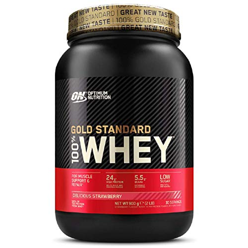 Optimum Nutrition Gold Standard Whey Protein Powder Muscle Building Supplements With Glutamine and Amino Acids, Delicious Strawberry, 30 Servings, 900 g, Packaging May Vary