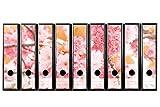 Set mit 9 Stück Traumhaften Breiten Ordner-Etiketten selbstklebend Ordnerrücken Sticker Zarte rosa Blüten Kirschblüten