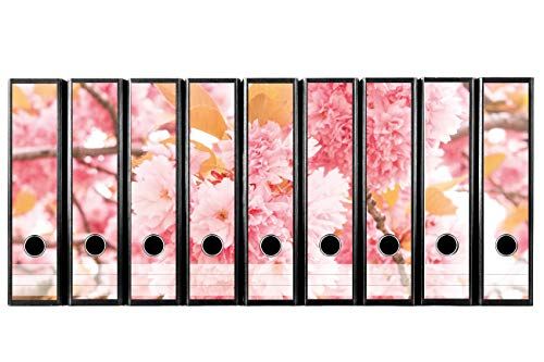 codiarts. Set mit 9 Stück traumhaften breiten Ordner-Etiketten selbstklebend Ordnerrücken Sticker (Aufkleber) zarte rosa Blüten Kirschblüten