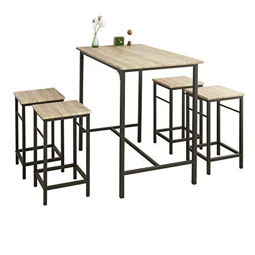 SoBuy® OGT11-N Bartisch Set 5-teilig Esstisch Bistrotisch mit 4 Stühlen Sitzgruppe
