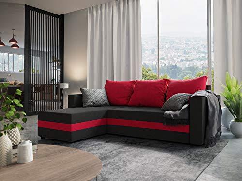 Nowak MebLiebe Ecksofa Savio Couch Ecksofa mit Schlaffunktion 235x152x85 cm Bett 3-Sitzer Sofa (Schwarz-Rot)