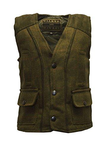 Walker & Hawkes – Chaleco ajustado de lana de tweed para bebé Verde Salvia Oscura 20