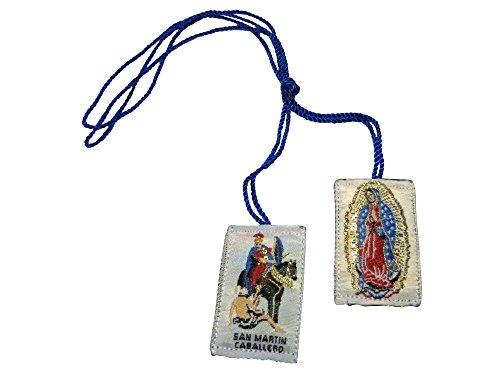 Escapulario o Escapulario De San Martin Caballero Saint Martin De Viajes con la Virgen de Guadalupe Nuestra Señora de Guadalupe (Azul)